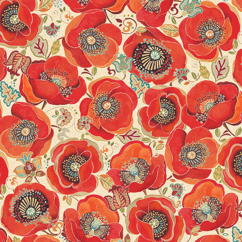 Ivory - Large Poppies