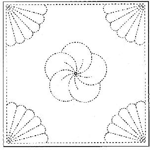 Sashiko Printed Cloth x 5 - Flower & Fans