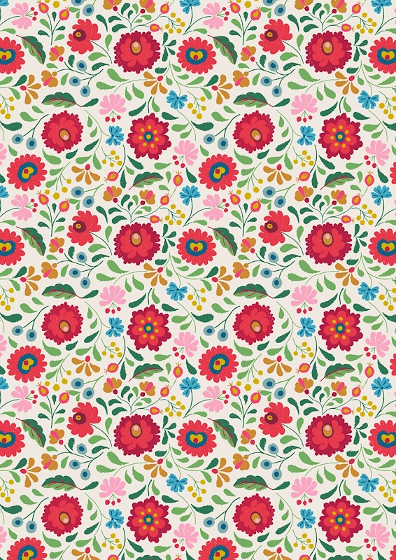 Folksy Flowers On White - Maya