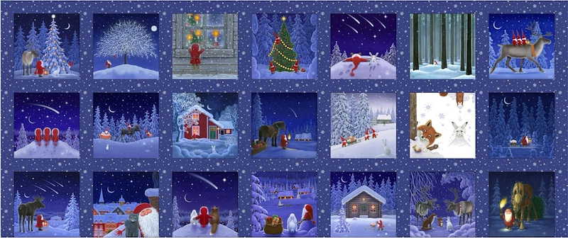 Snowy Scenes 5in Squares Panel - Tomten's Christmas