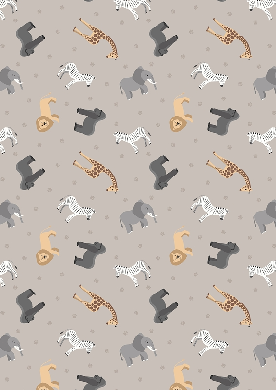 African Animals On Soft Elephant Grey - Small Things... World Animals