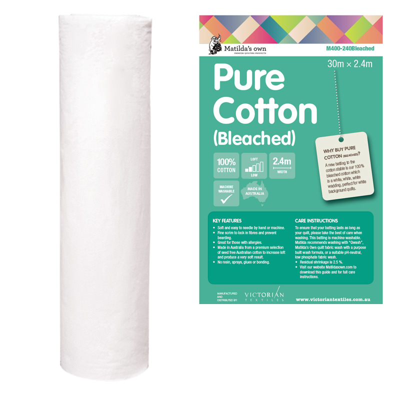 100% Bleached Cotton 2.4m x 30m Roll