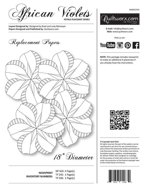 African Violets Replacement Papers - Petal Placemat Series