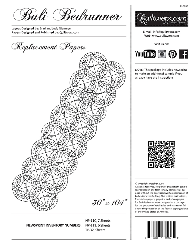 Bali Bed Runner Replacement Papers