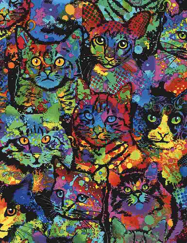 Multi - Paint Splatter Cats