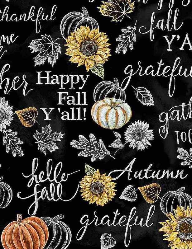 Black - Happy Fall Y'all Chalk Words