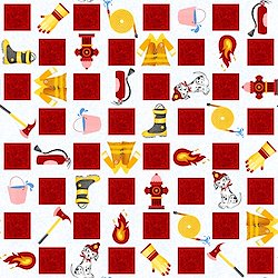 White - Firefighter motif checkerboard