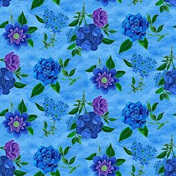 Light Blue - Spaced Floral