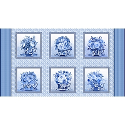 Medium Blue - Blocks With Teacups And Flowers