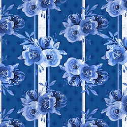Dark Blue - Floral On Striped Background