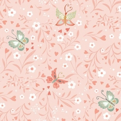 Pink - Floral With Butterflies