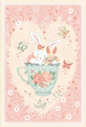 Pink - 30in Bunny in Teacup Panel