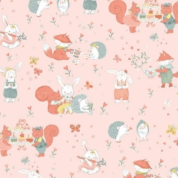 Pink - Woodland Critters Allover