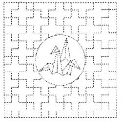 Sashiko Printed Cloth - Origami Swan