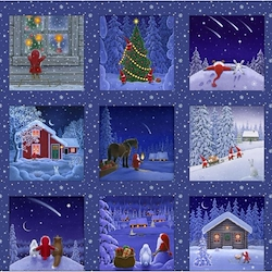 Snowy Scenes 5in Squares Panel - Tomten's Christmas