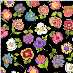 Big Blossoms Black Fabric
