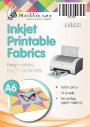 A6 Inkjet Printable Fabric (10 Sheets)